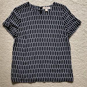 Michael Kors black & white print blouse, size M